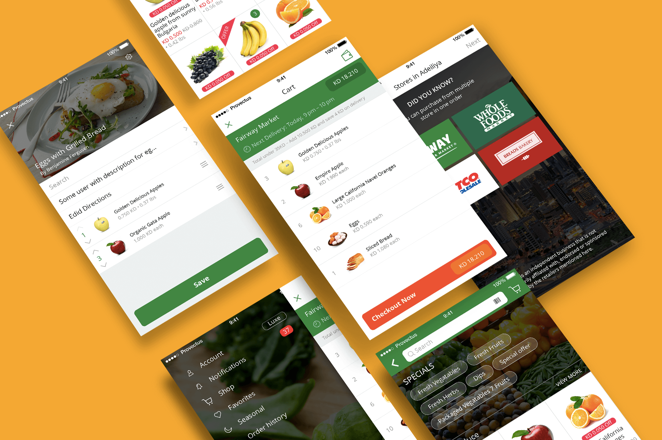 on-demand grocery app screens