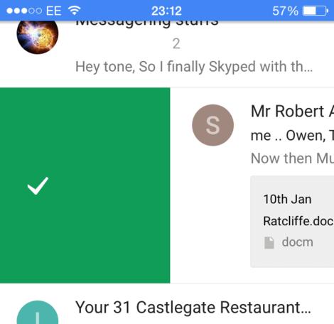 inbox swipe micro UX