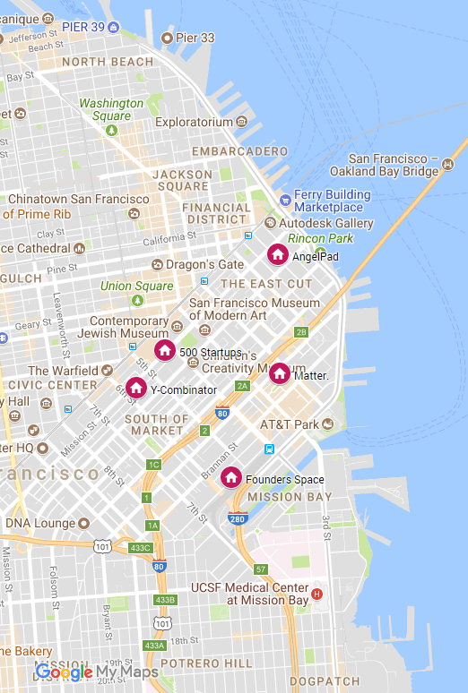Map to San Francisco's Top Five Startup Accelerators
