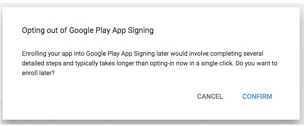 Opting out from Google Play App Signing when adding an app.